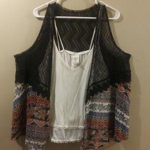Pretty 2-PC Vest w/ Cami Top, Size Plus 1X